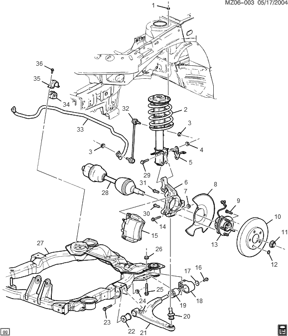 on 2006 pontiac g6 rear suspension diagram
